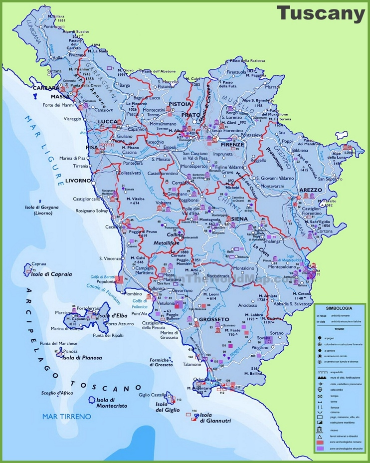 Large detailed travel map of Tuscany with cities and towns