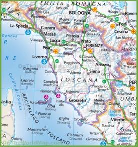 Large map of Tuscany