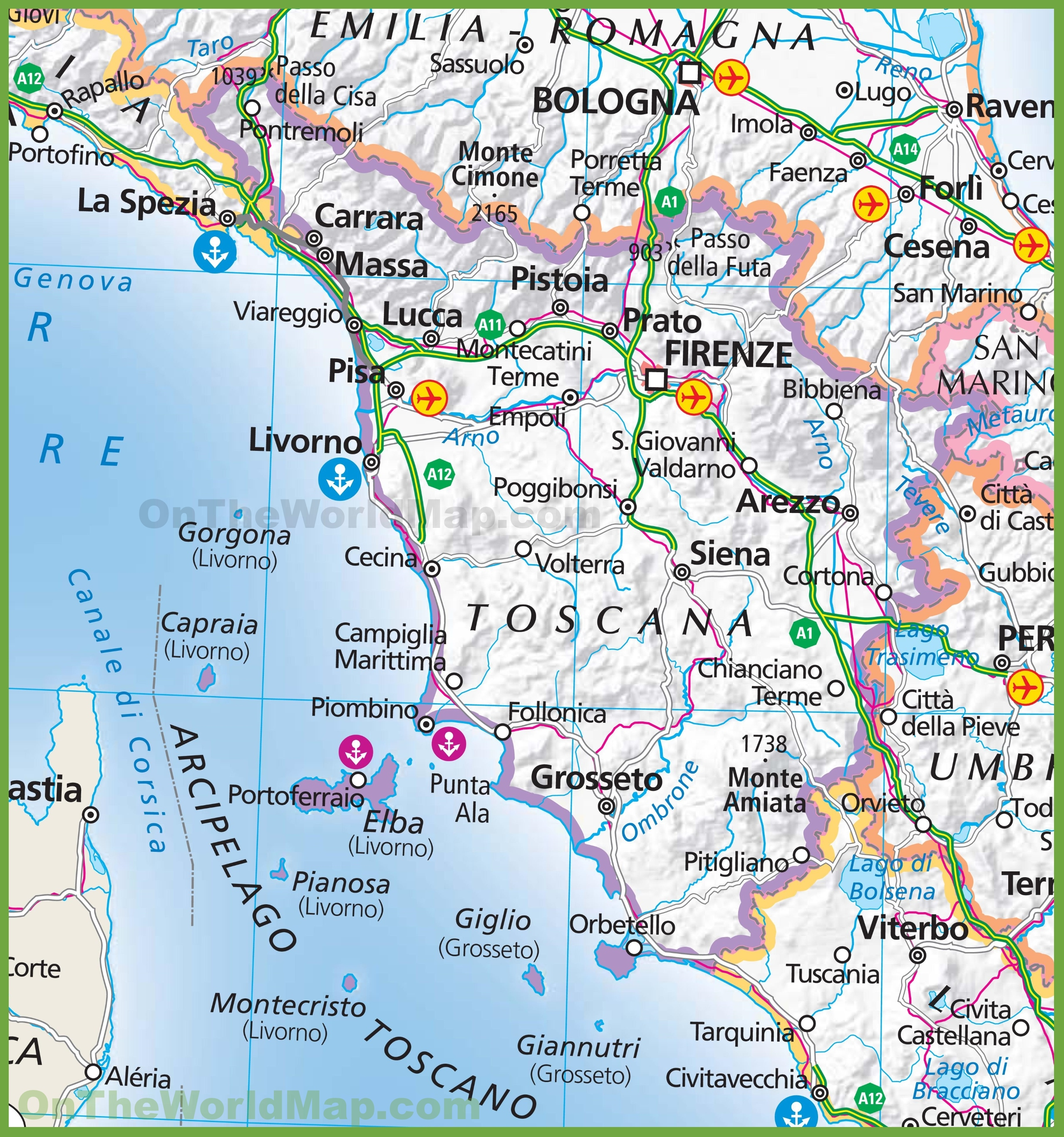 Map Of Tuscany Large map of Tuscany Map Of Tuscany