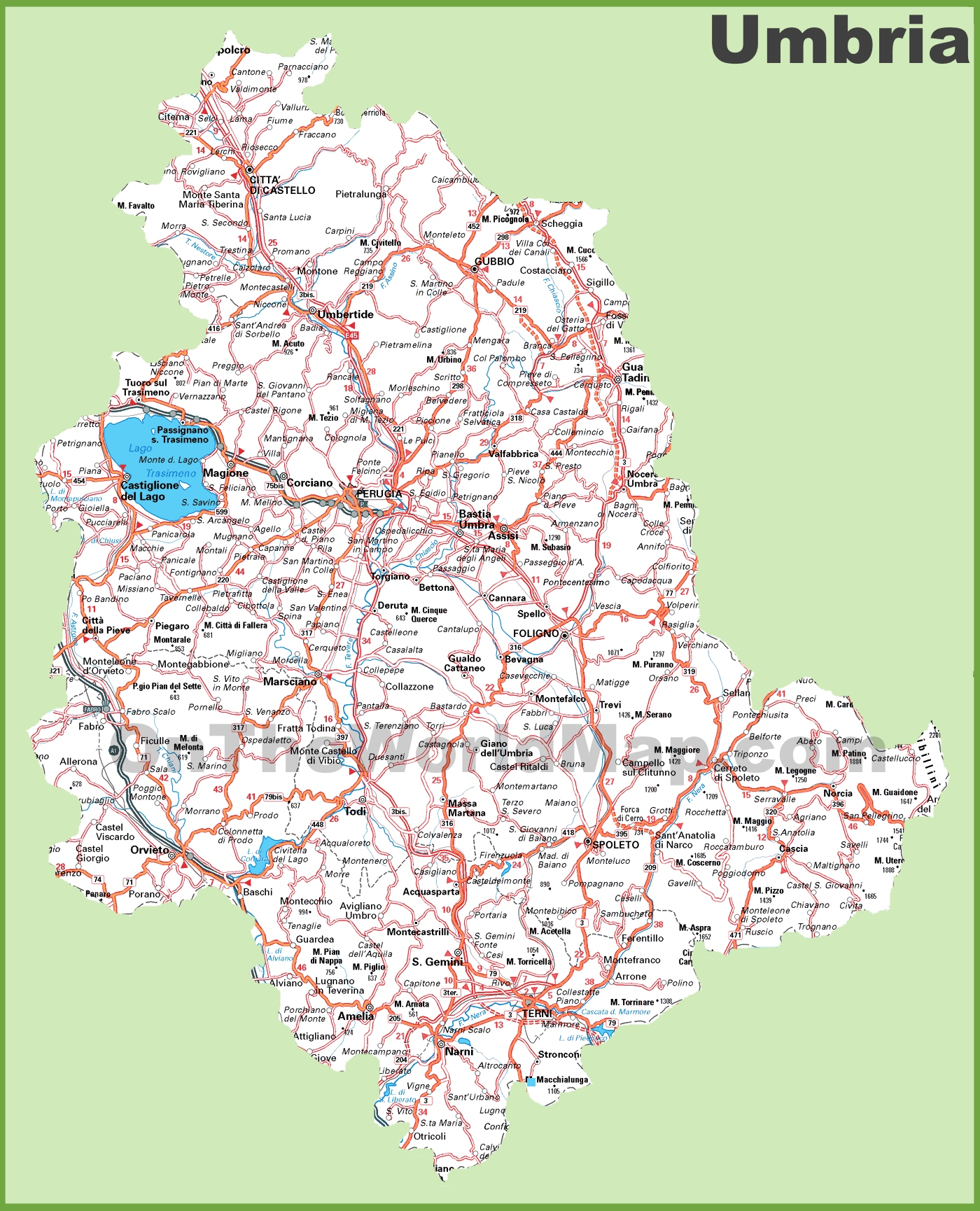 Umbria Italy Map Large detailed map of Umbria with cities and towns