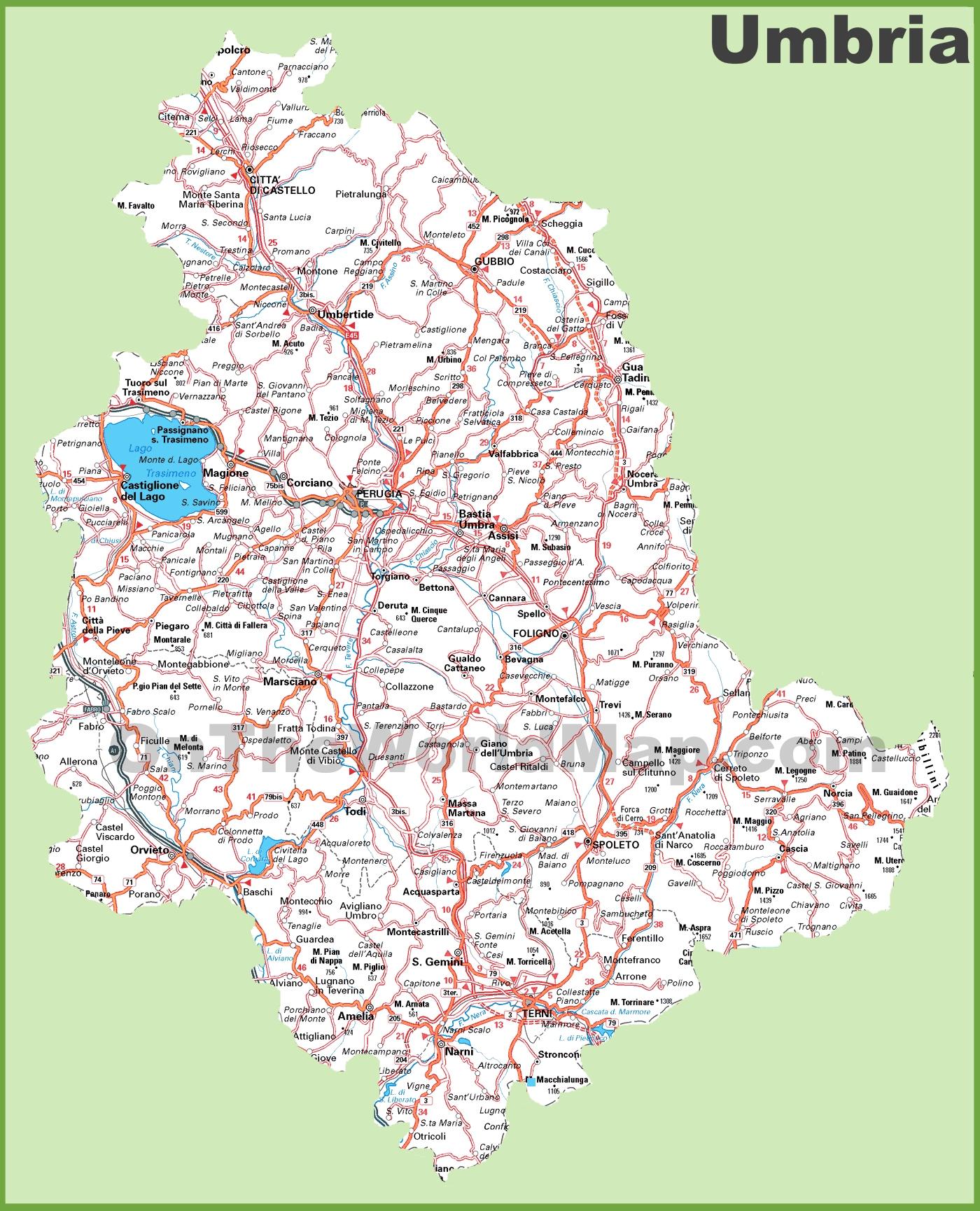 Umbria Cartina Italia.Grande Mappa Dettagliata Di Umbria Con Citta