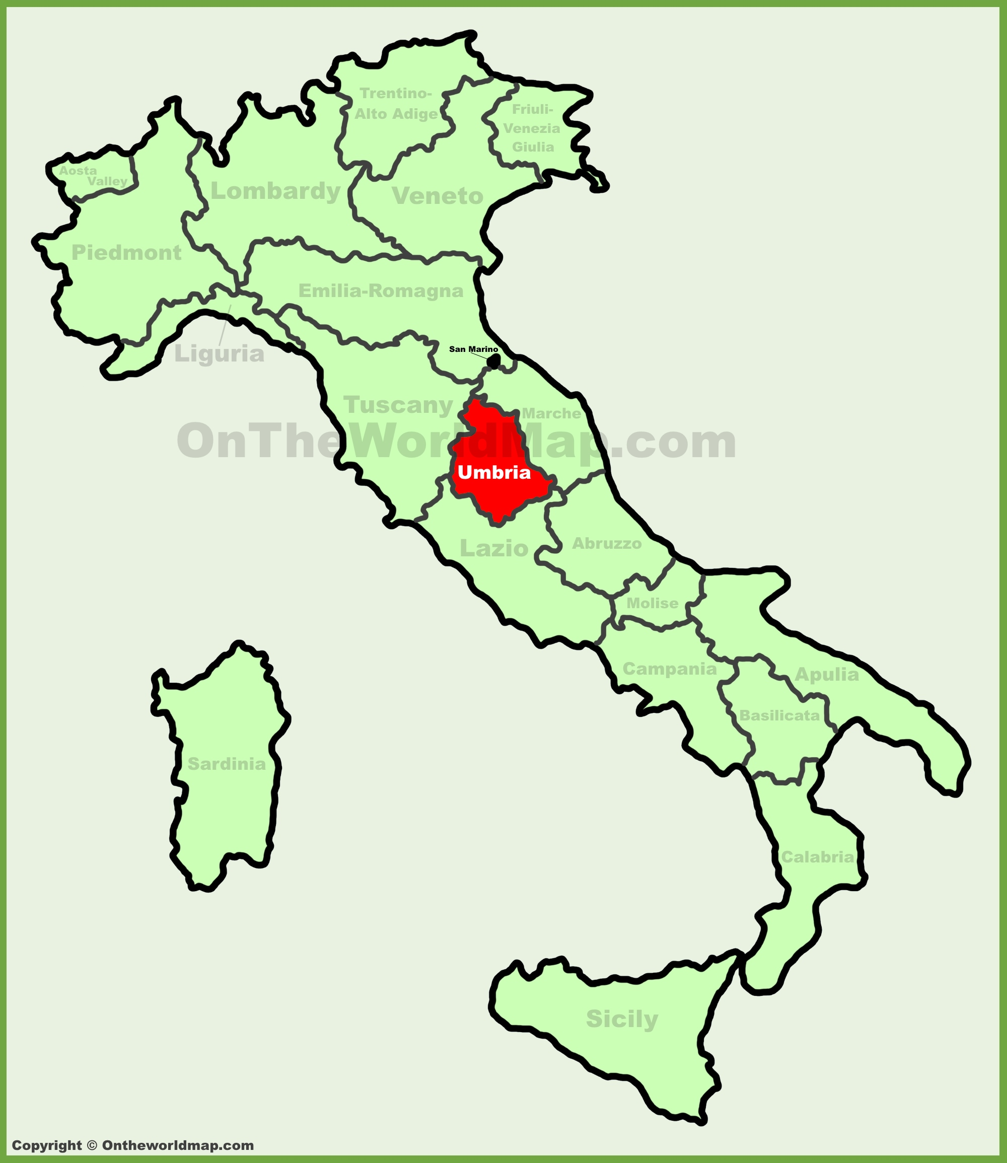 Umbria location on the Italy map