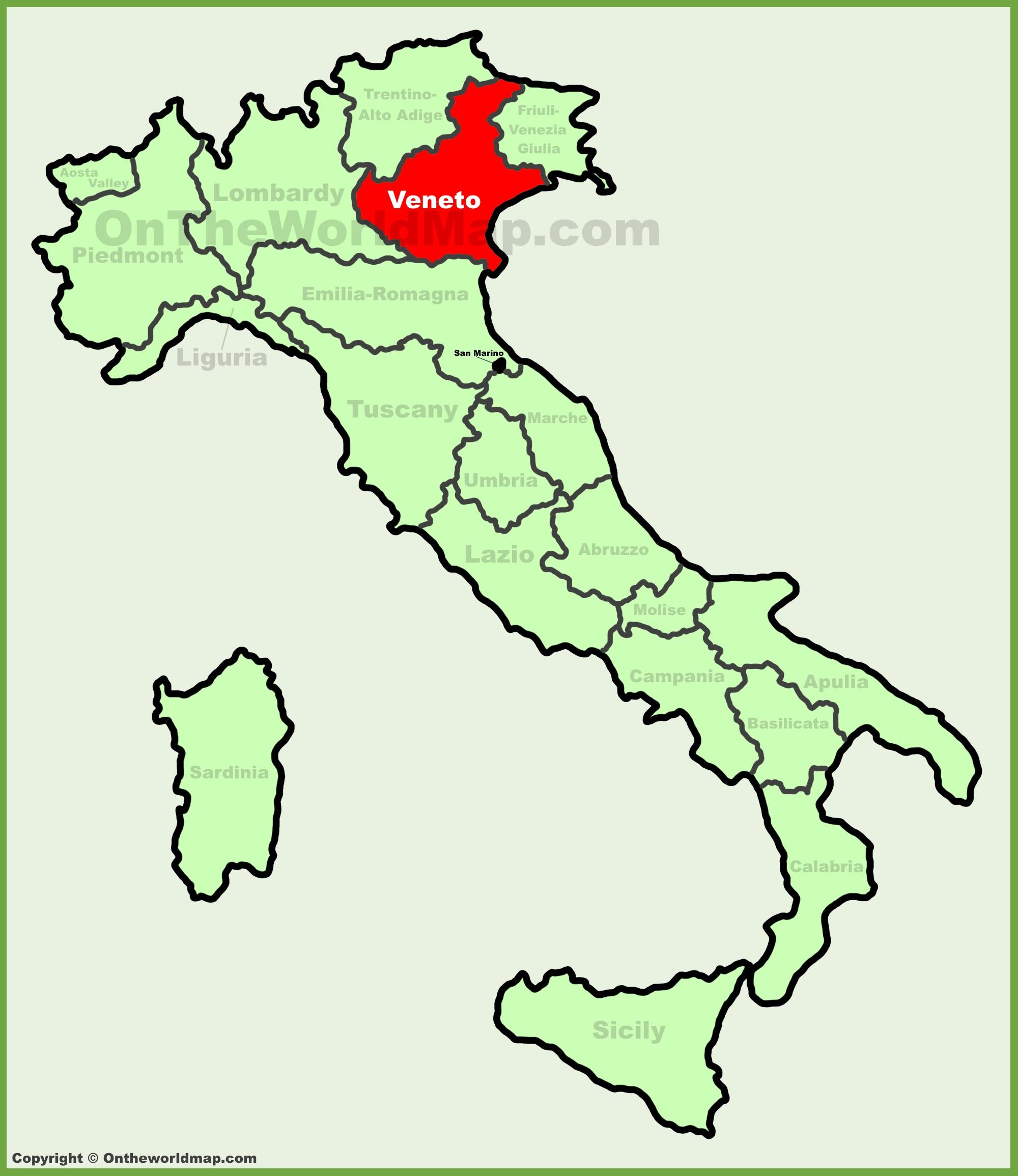 Cartina Dell Italia Veneto.Veneto Sulla Mappa Dell Italia
