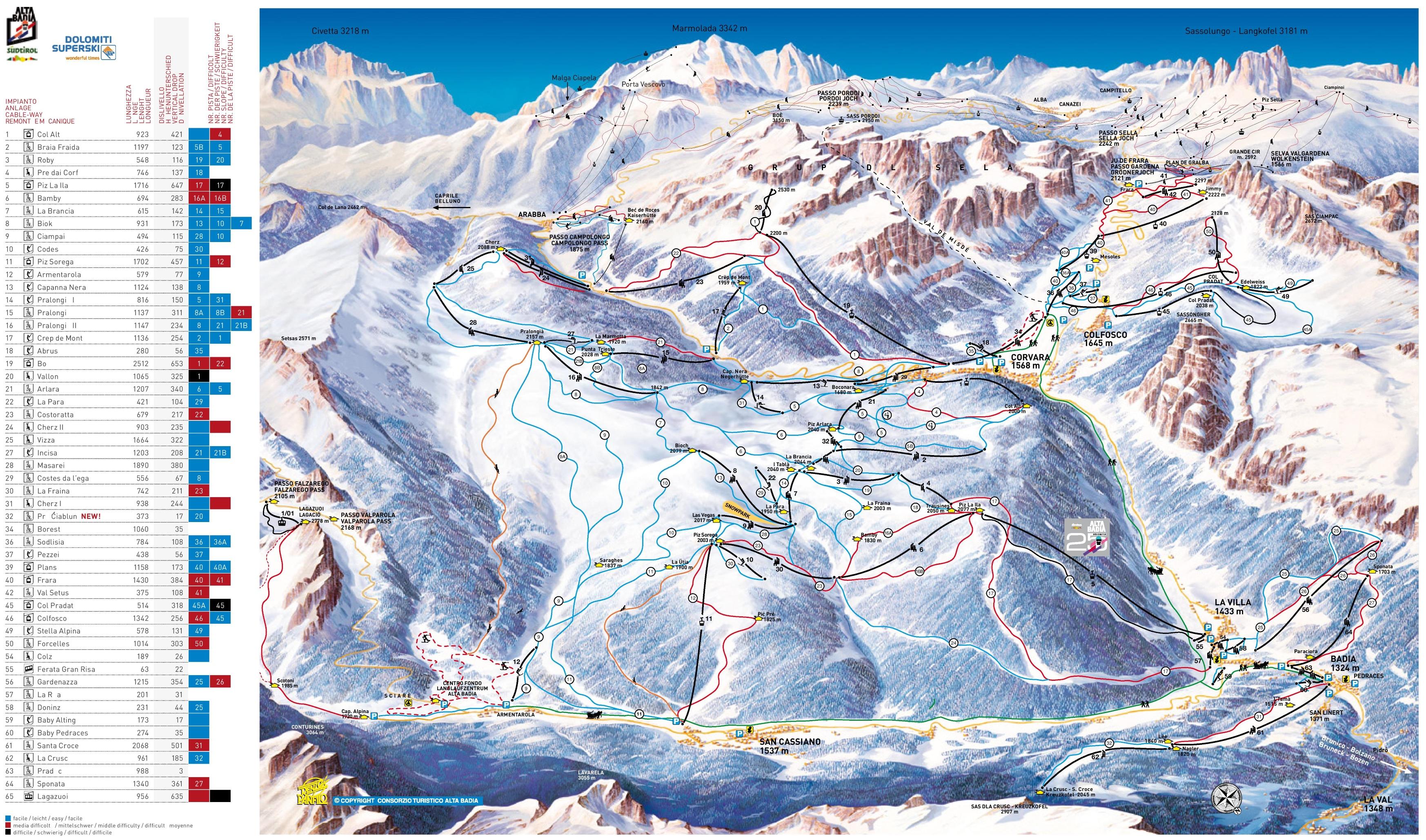 Alta Badia Maps Italy Maps of Alta Badia