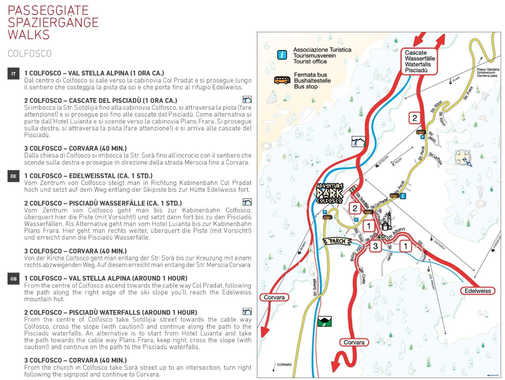 Colfosco walks map