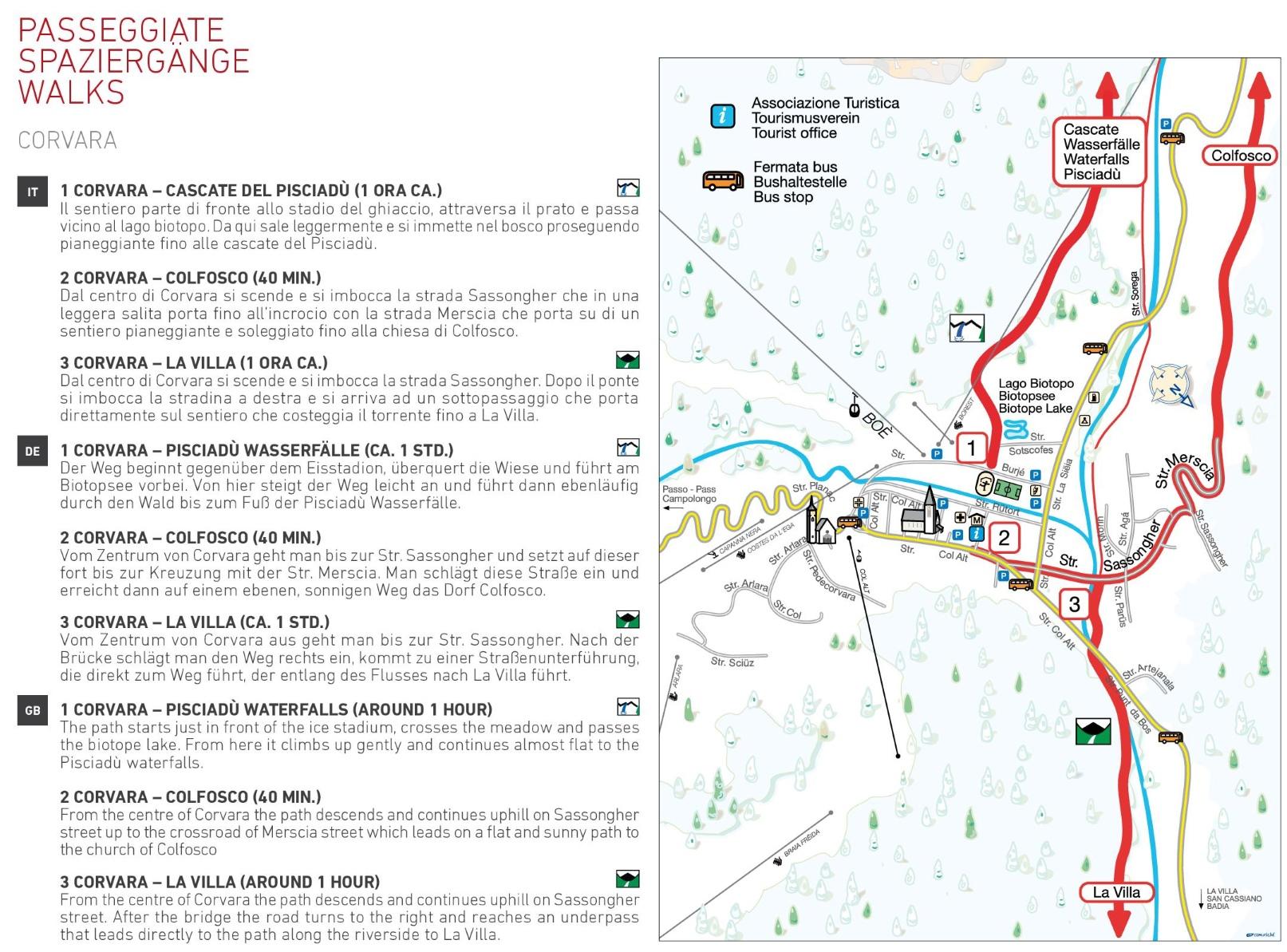 Corvara walks map