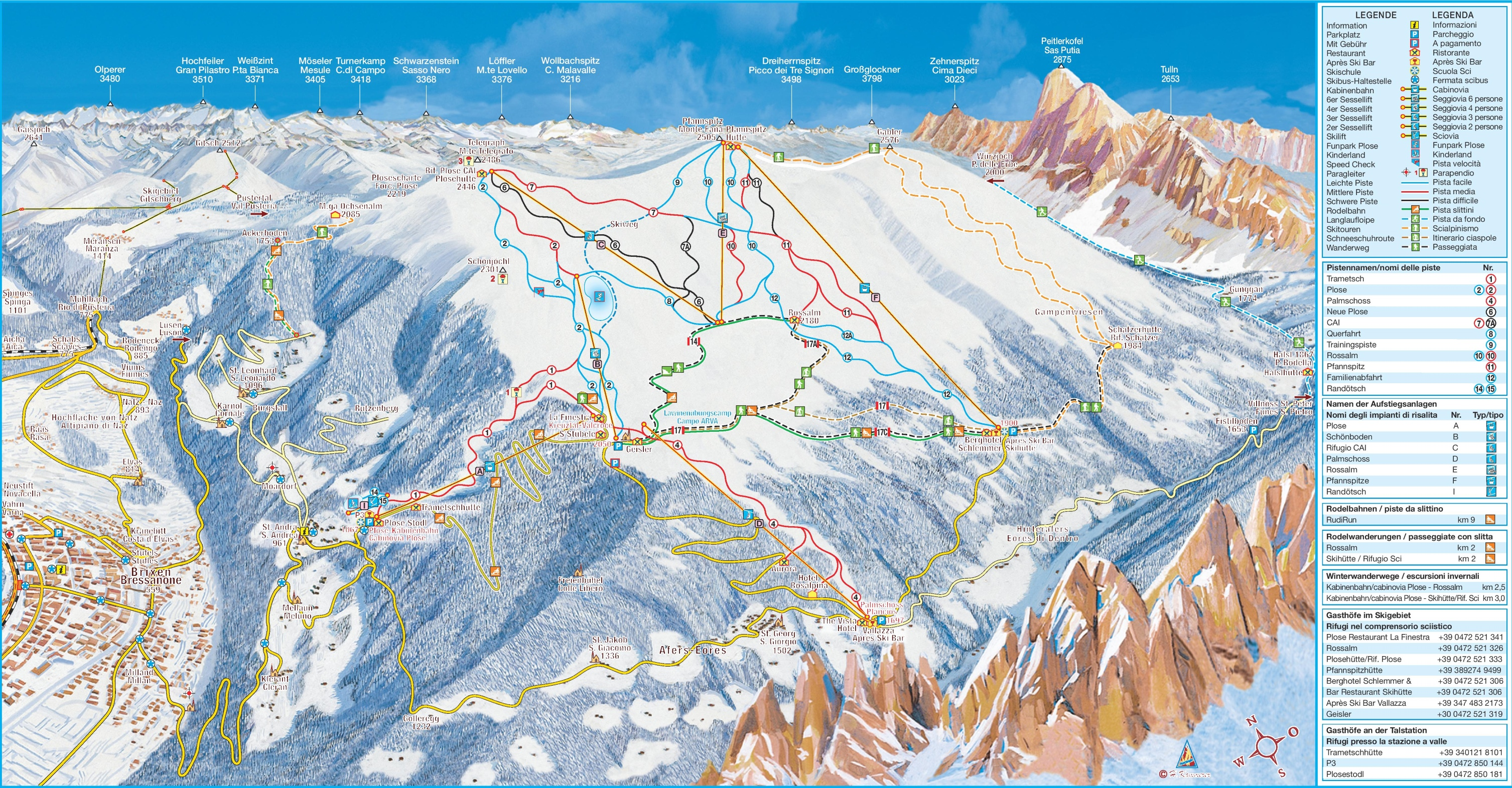 Brixen piste map