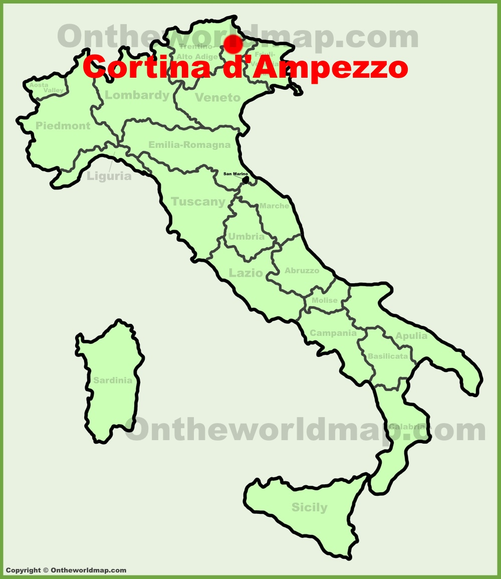 Cortina dAmpezzo location on the Italy map