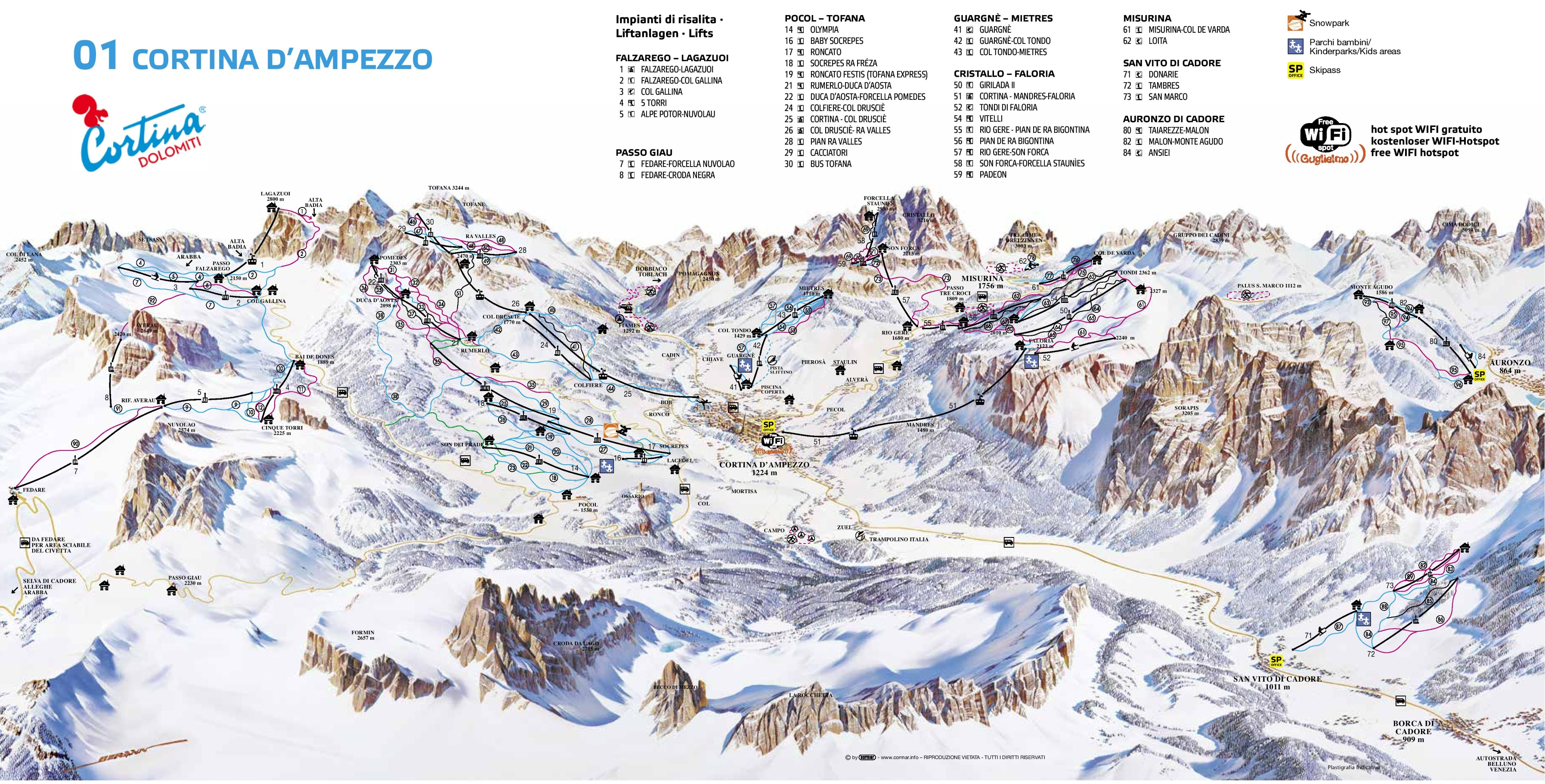 Cortina dAmpezzo ski map