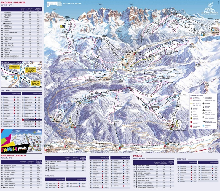 Folgarida and Madonna di Campiglio ski map