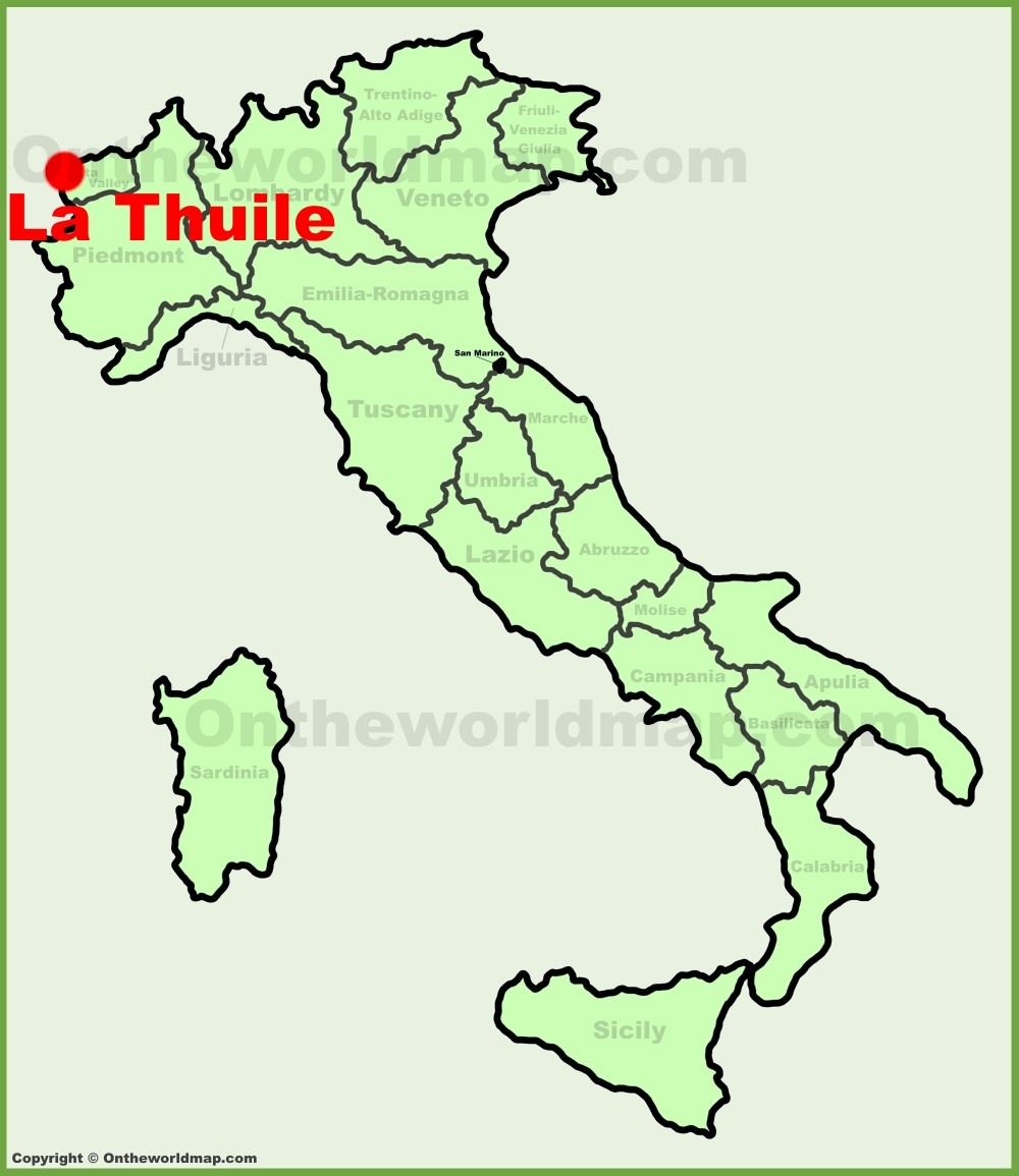 La Thuile location on the Italy map