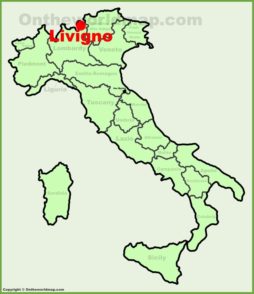Livigno location on the Italy map
