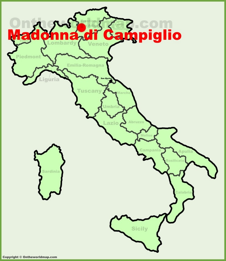 Madonna di Campiglio location on the Italy map