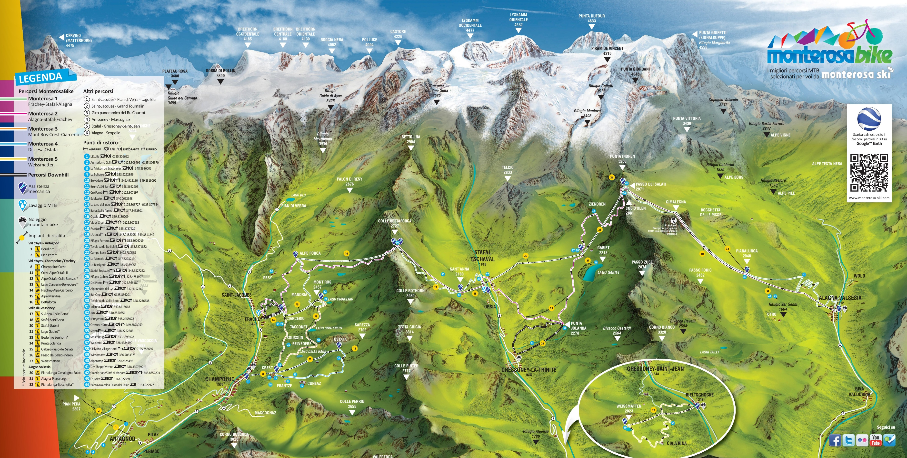 Monte Rosa Maps Italy Maps of Monte Rosa
