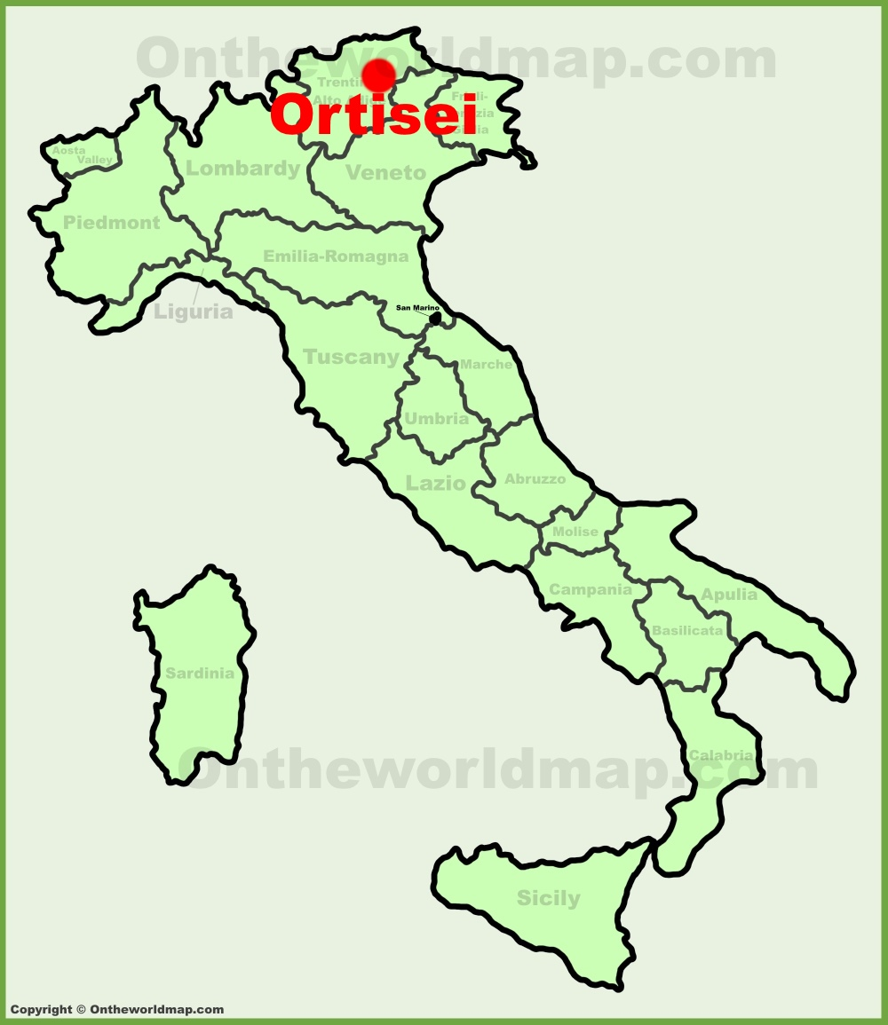 Ortisei location on the Italy map
