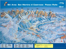 San Martino and Passo Rolle piste map