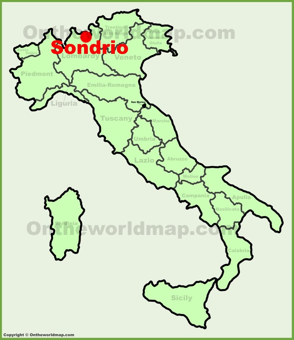 Sondrio location on the Italy map