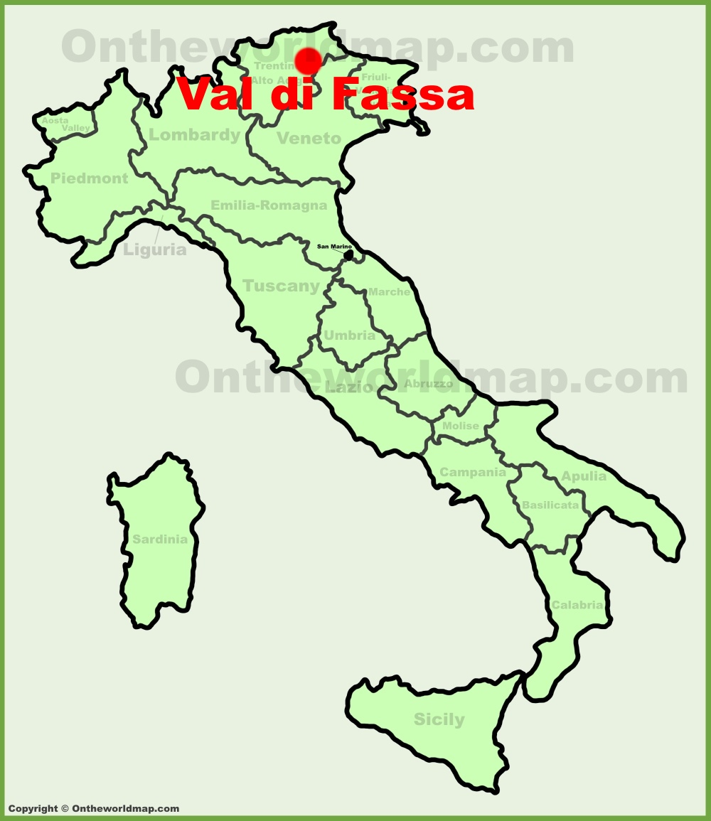 Val di fassa location on the italy map