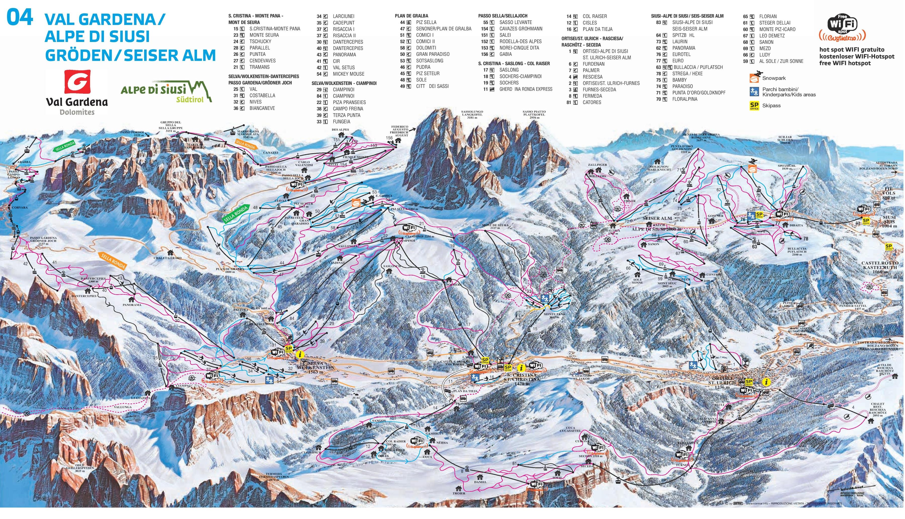 Val Gardena piste map