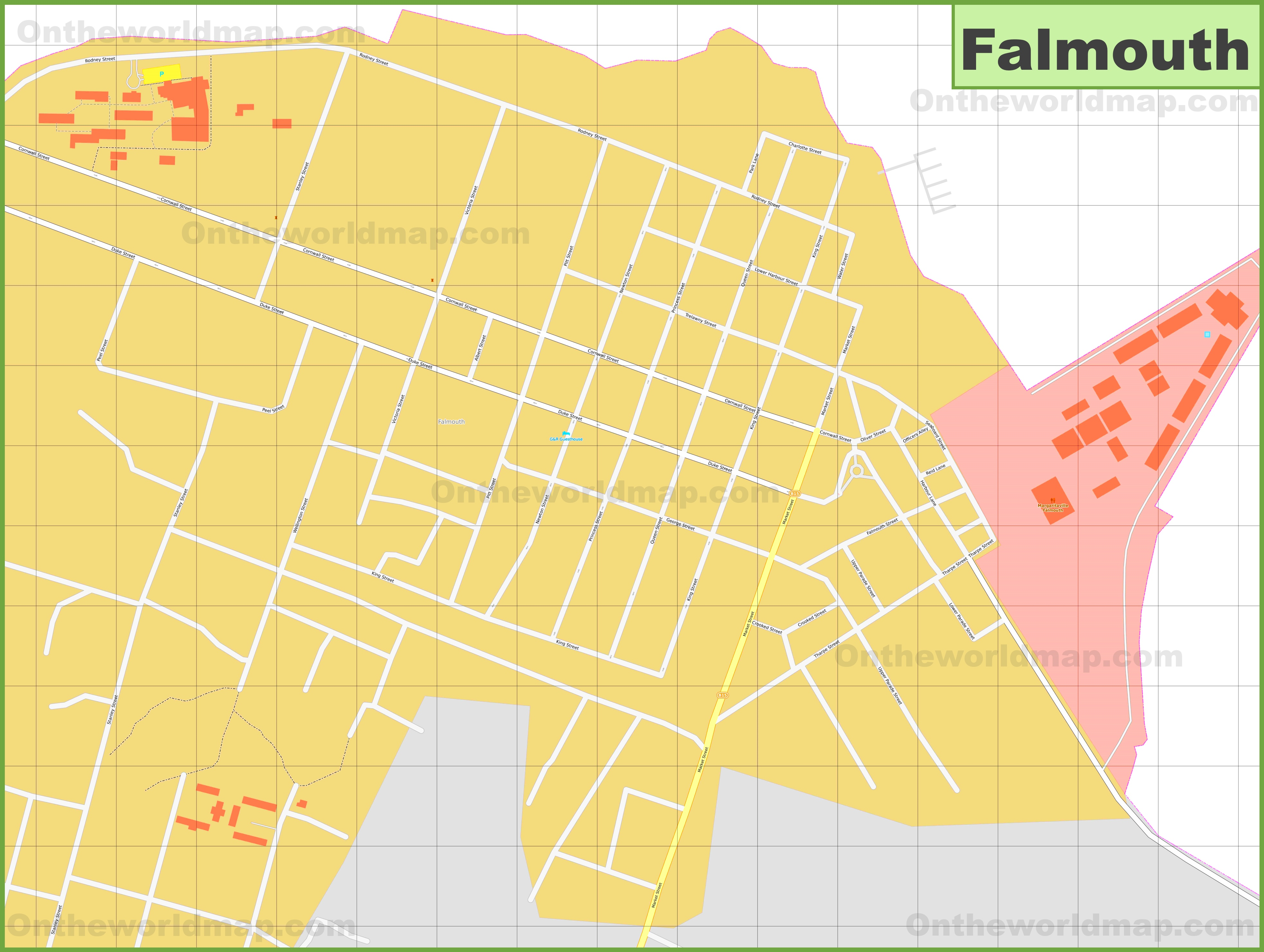Large detailed map of Falmouth