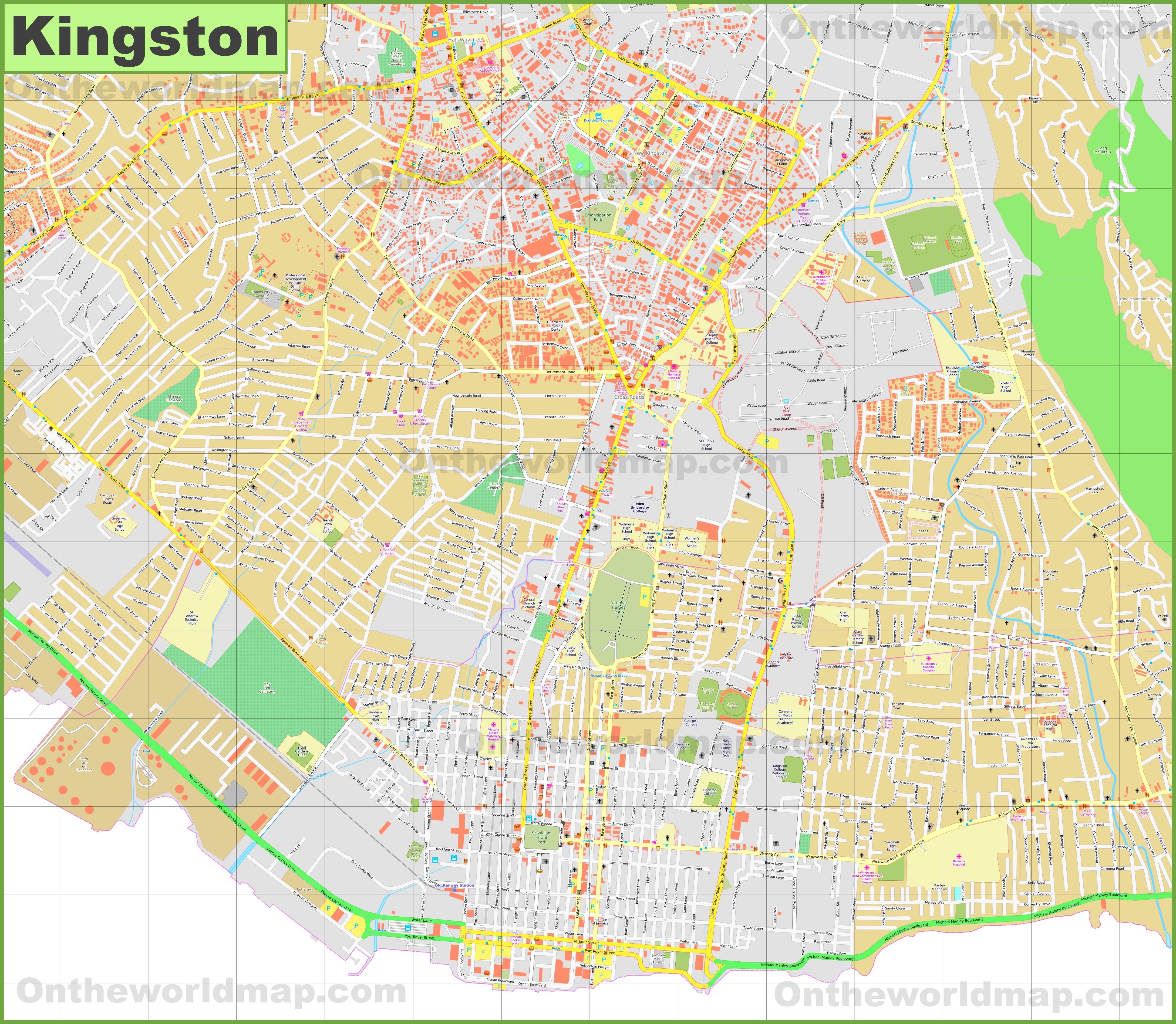 Kingston city center map