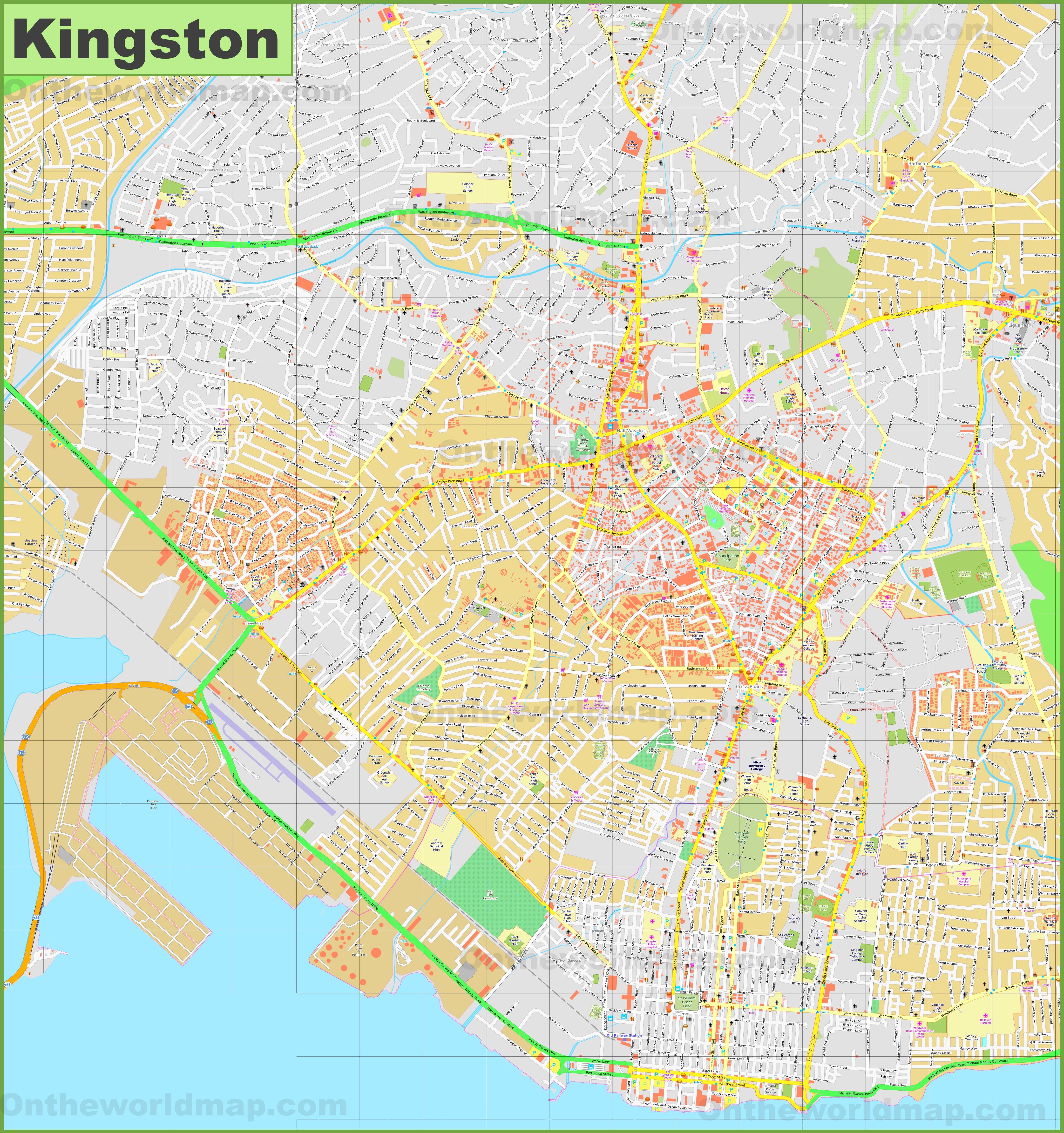 Large detailed map of Kingston
