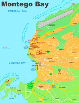 Montego bay maps jamaica maps of montego bay montego bay hotel map sciox Images