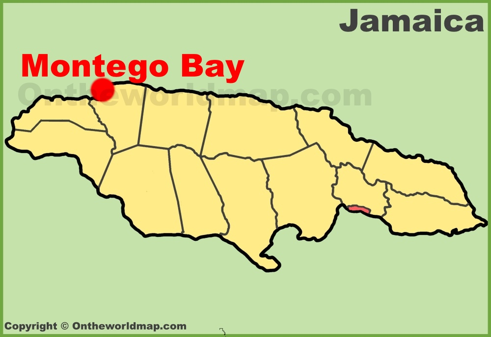 Montego Bay location on the Jamaica Map