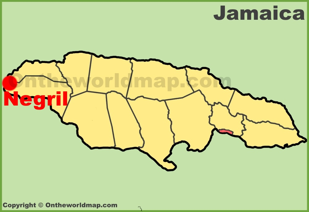 Negril location on the Jamaica Map