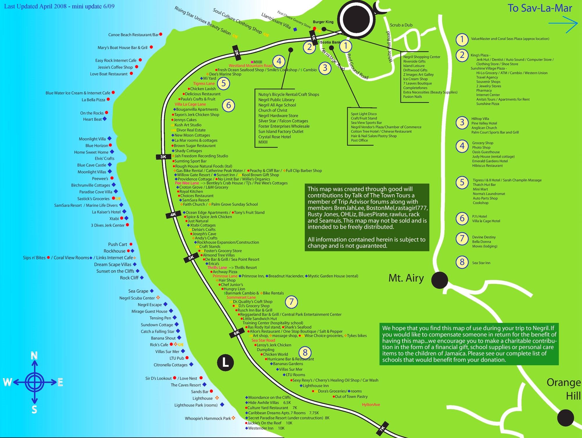 Negril tourist map