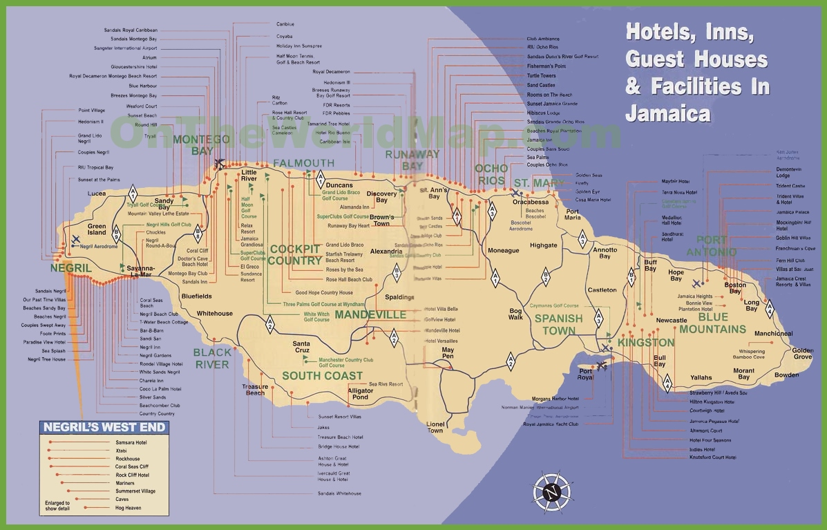Jamaica hotel map sciox Images