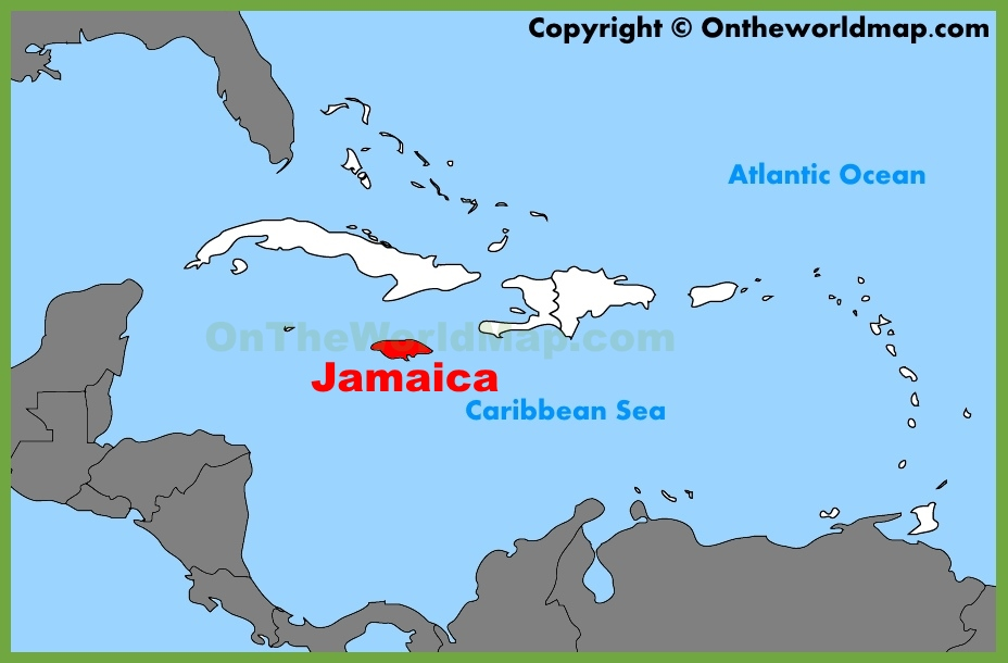 Jamaica Location On The Caribbean Map - Jamaica map caribbean sea