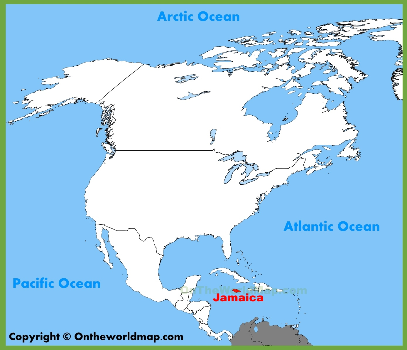 . jamaica location on the north america map
