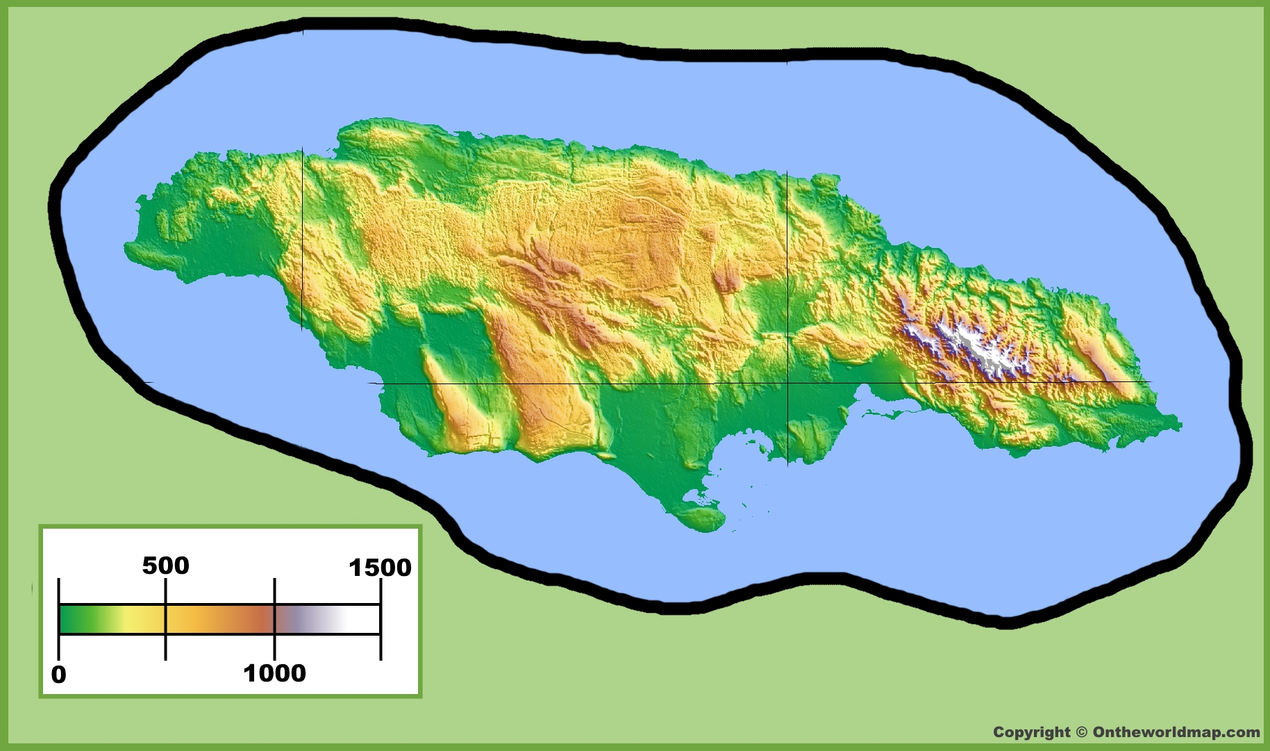 Jamaica Physical Map - Jamaica map