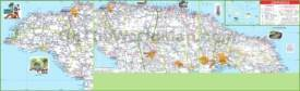 Large detailed road map of Jamaica