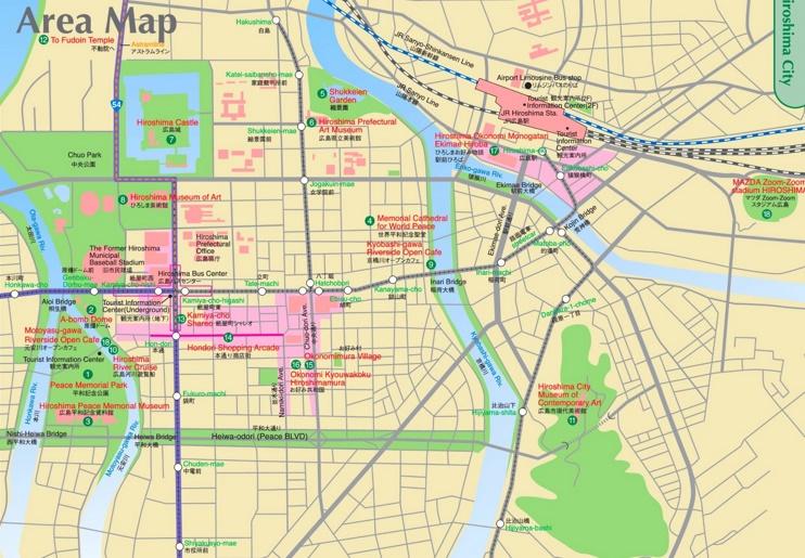 Hiroshima downtown map