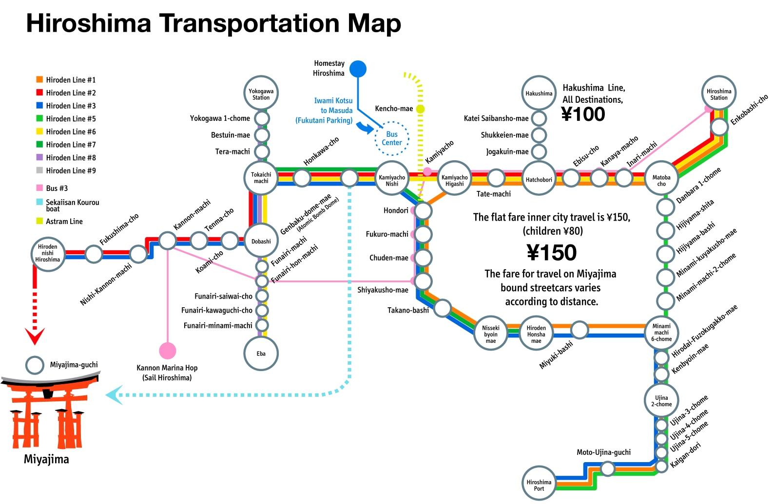 Hiroshima transport map