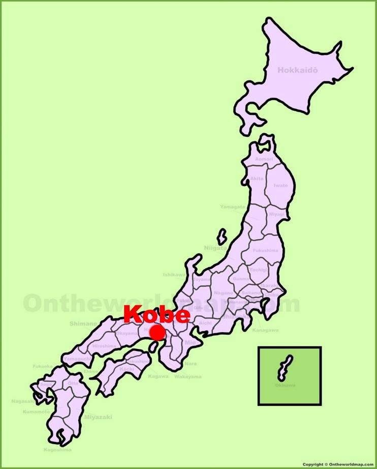 Kobe location on the Japan Map