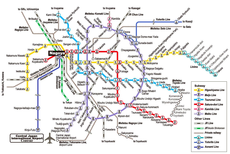 Central Subway Map.Nagoya Subway Map