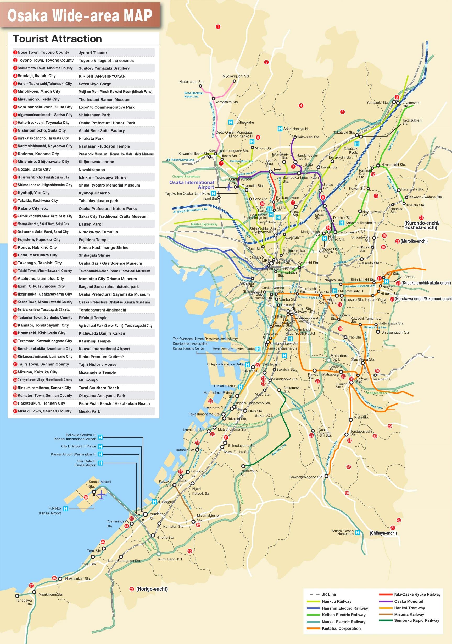 Osaka area tourist map