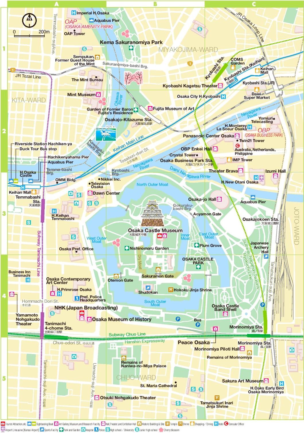 Osaka Castle Area Map on