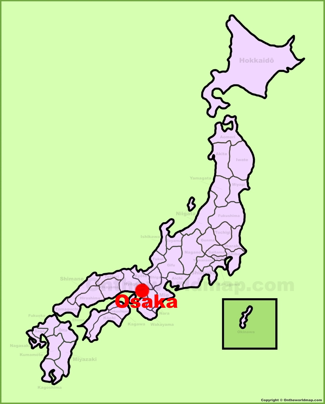 Osaka location on the Japan Map