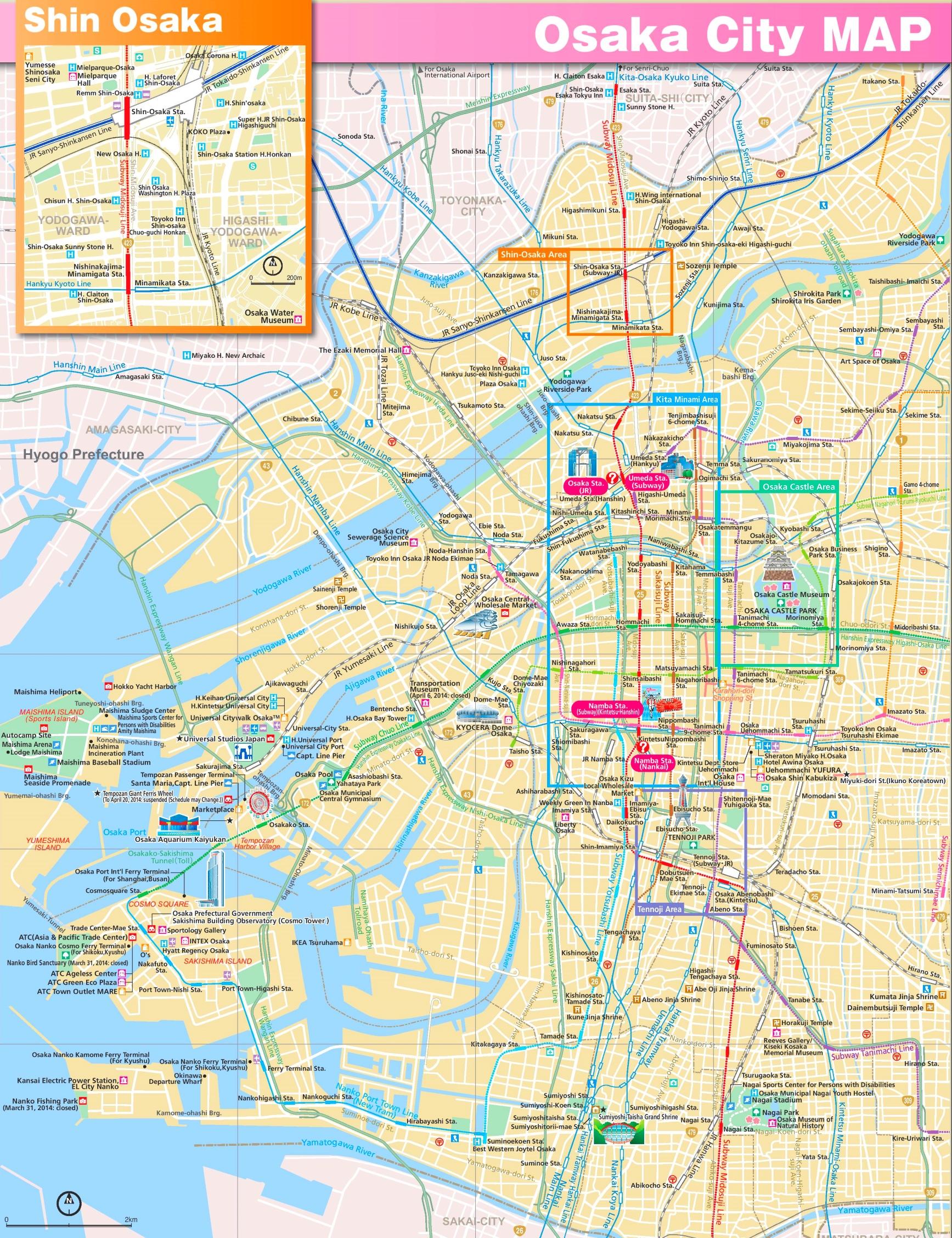 Osaka sightseeing map