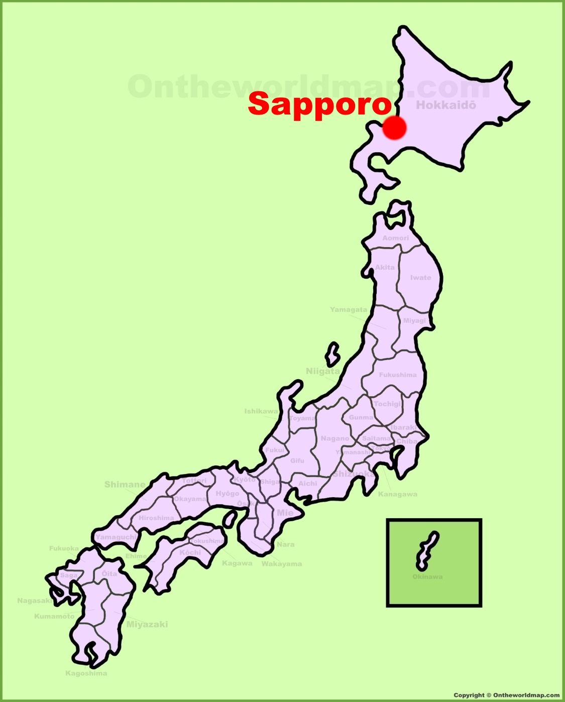 Sapporo location on the Japan Map