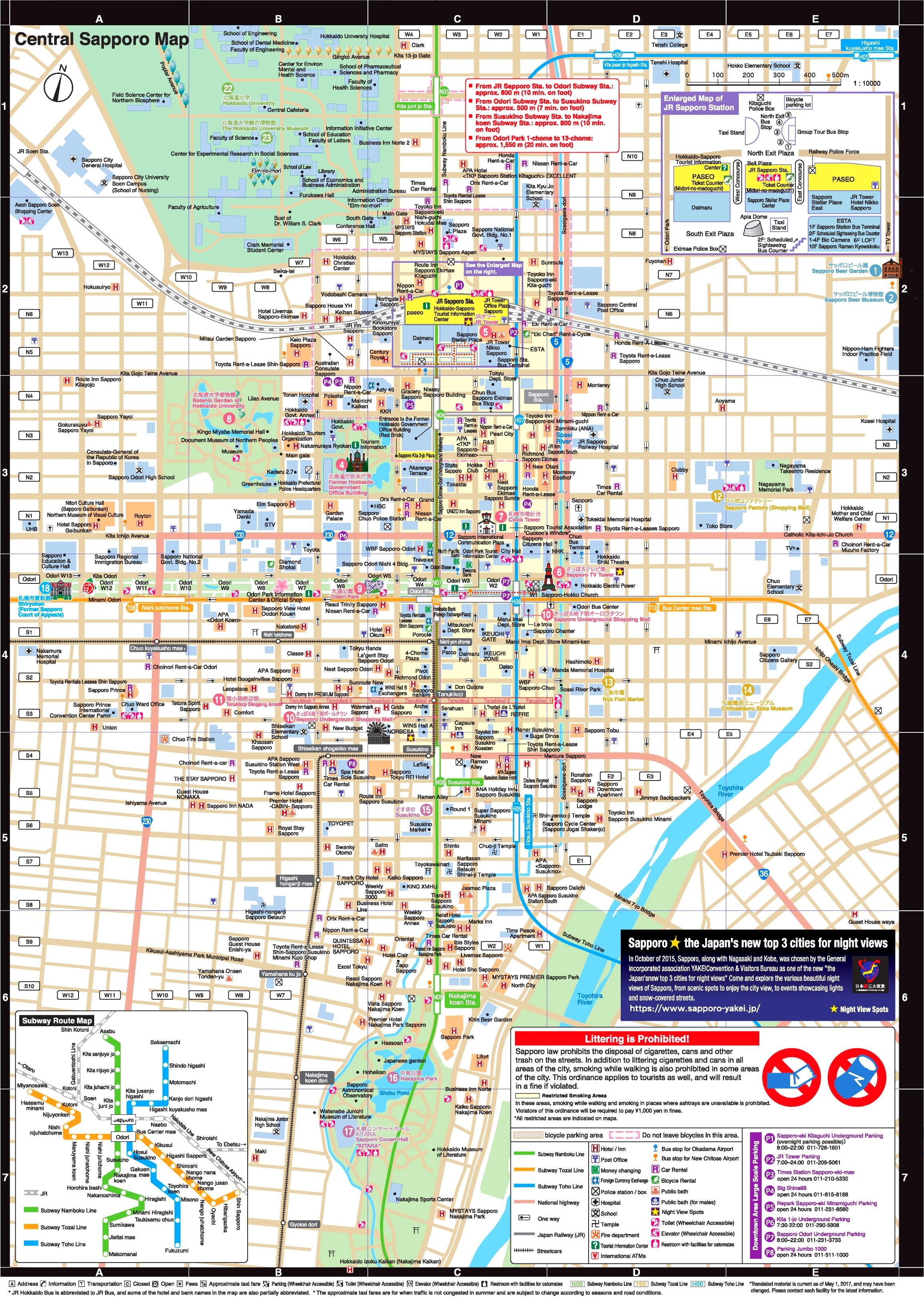 Sapporo tourist map