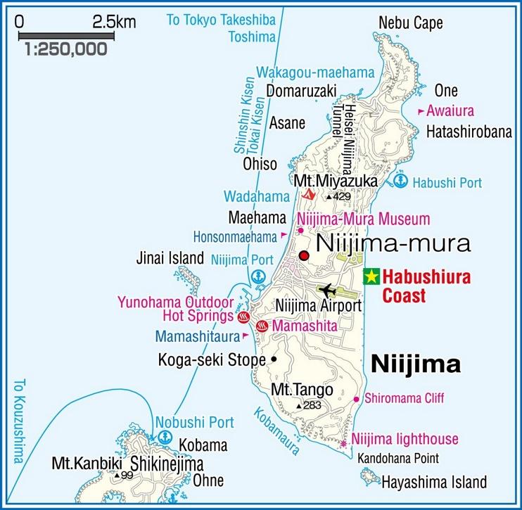 Niijima Island map