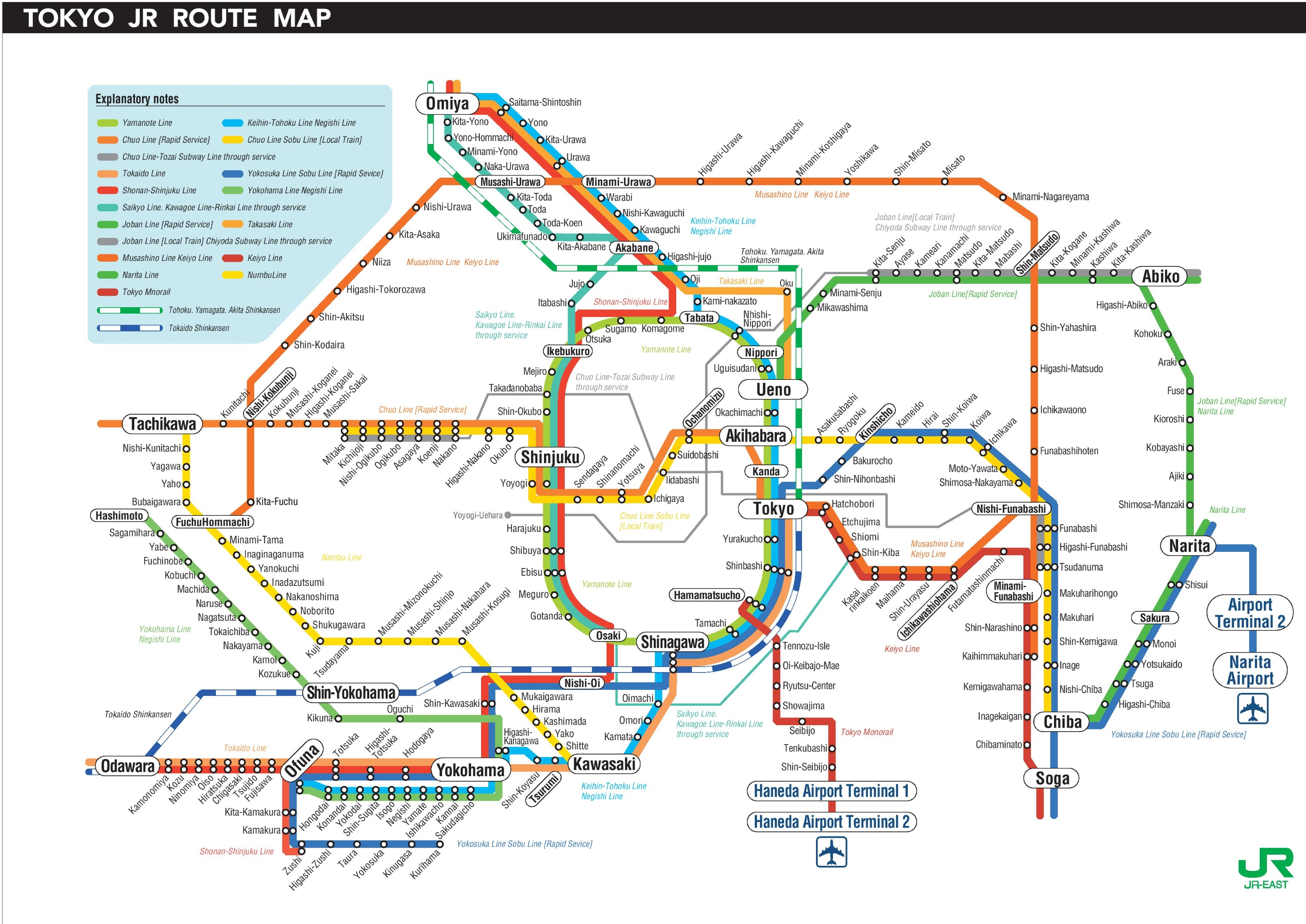 Tokyo Jr Map Tokyo JR map