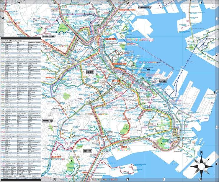 Yokohama bus map