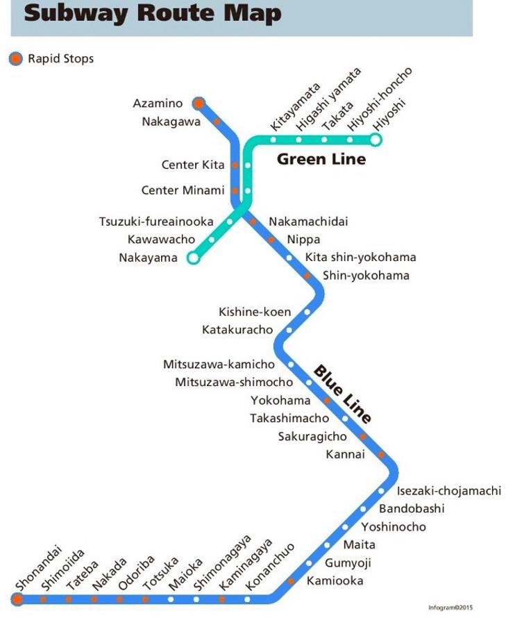 Yokohama Subway Map.Yokohama Subway Map
