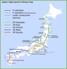 Japan high speed railway map